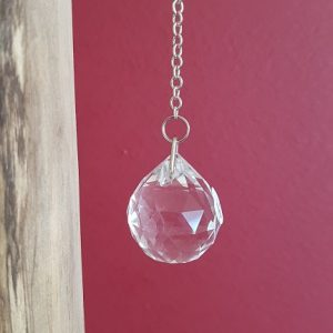 Ondorama pendule boule à facettes en cristal de roche pour Feng shui