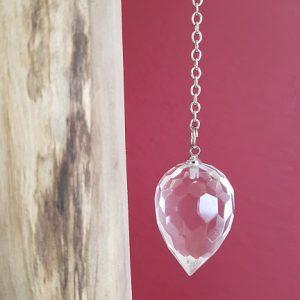 Ondorama pendule goutte à facettes en cristal de roche pour Feng shui