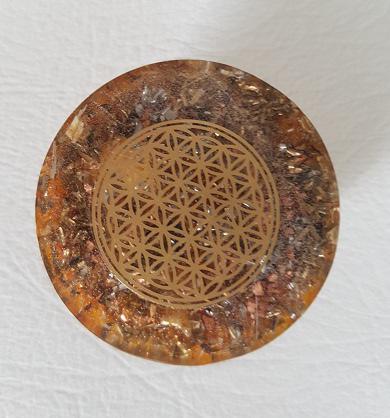 orgonite Ondorama demi sphere 4cm fleur de vie