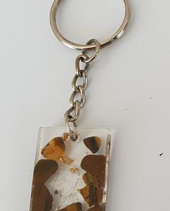 Porte clef orgonite oeil de tigre cristal de roche et feuille d'or