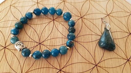 apatite bleue bracelet et pendentif