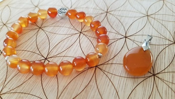 cornaline orange bracelet et pendentif