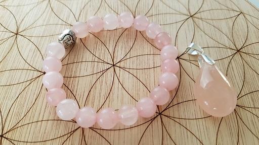 quartz rose bracelet et pendentif