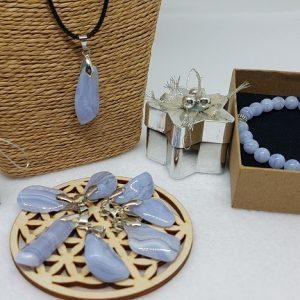 calcedoine bleue bracelet et pendentif ondorama bien etre