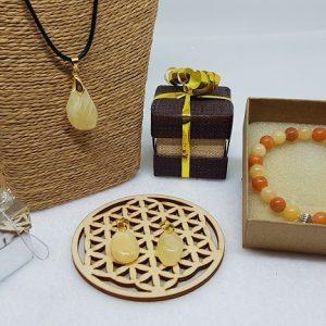 calcite orange coffret pendentif bracelet ondorama bien etre