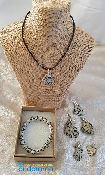 coffret cadeau jaspe dalmatien ondorama bien etre bracelet et pendentif