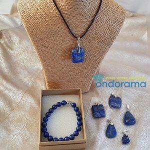 Coffret cadeau lapis lazuli pendentif et bracelet ondorama bien etre
