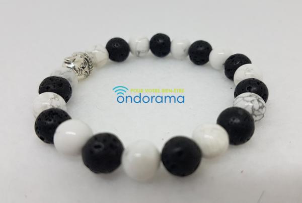 Bracelet yin yang pierre de lave howlite