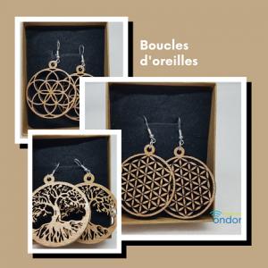 boucles d'oreilles en bois Ondes de forme