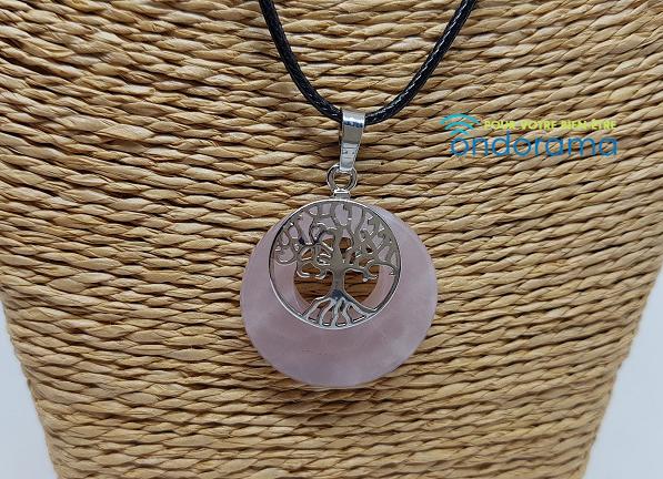 quartz rose pendentif avec arbre de vie